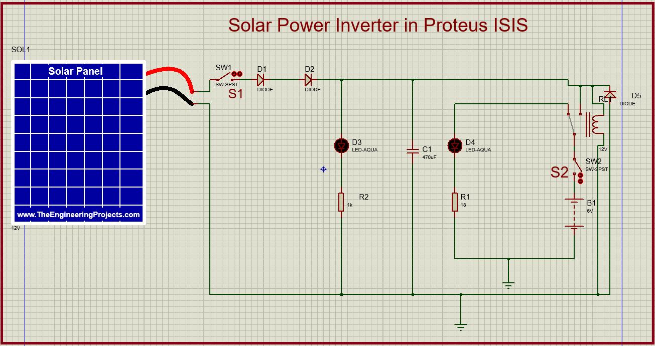 Solar inverter, inverter in Proteus, solar inverter in Proteus, Proteus library of Solar Panel, Cicuit for Solar Panel inverter in Proteus
