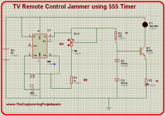 TV Remote Jammer, circuit of TV Remote jammer in Proteus, 555 timer projects, TV Remote control Jammer using 555 timer