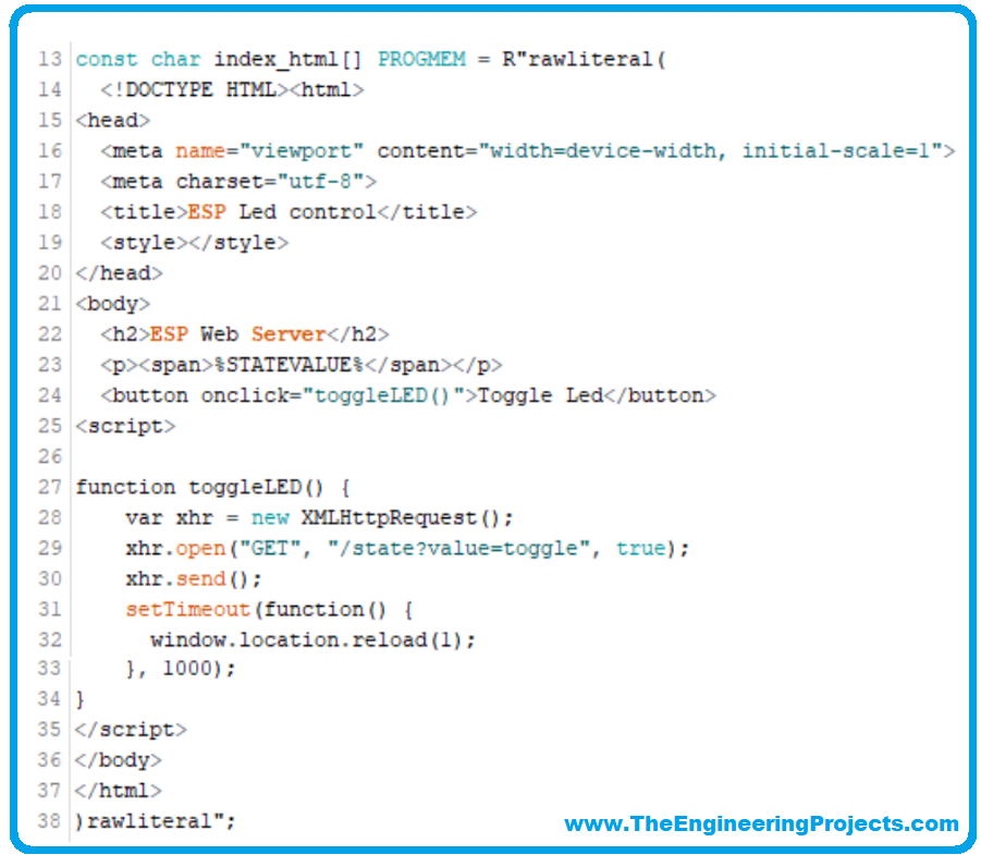 ESP8266 web server for LED control, creating small web server ,ESP8266WiFi, ESPAsyncWebServer, Creating the code, create/maintain the webserver, Control the LED